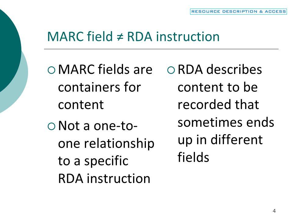MARC field ≠ RDA instruction