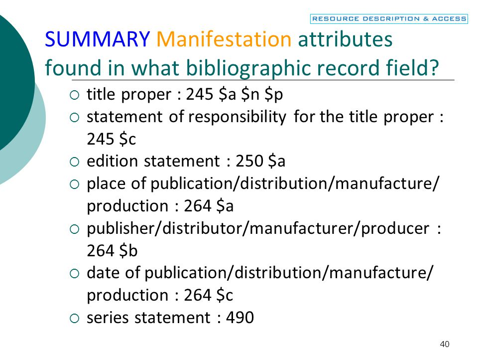SUMMARY Manifestation attributes found in what bibliographic record field