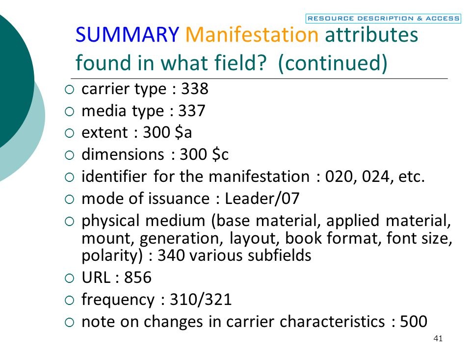 SUMMARY Manifestation attributes found in what field (continued)