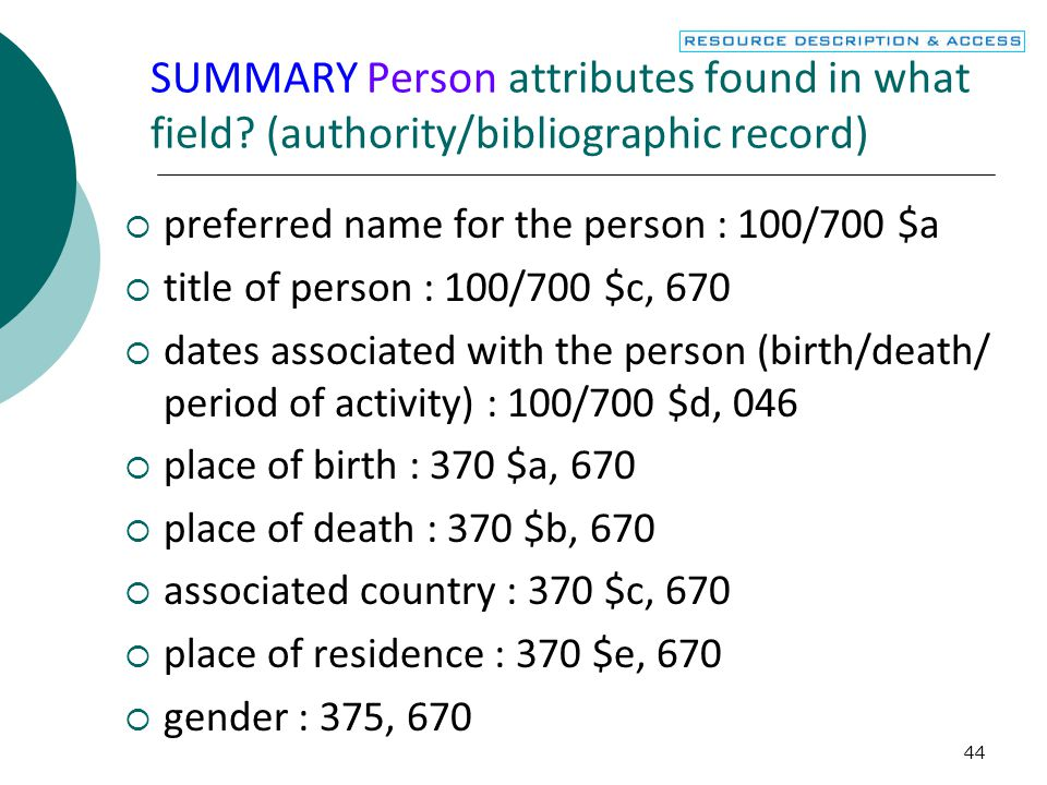 SUMMARY Person attributes found in what field