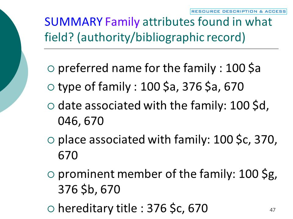 preferred name for the family : 100 $a