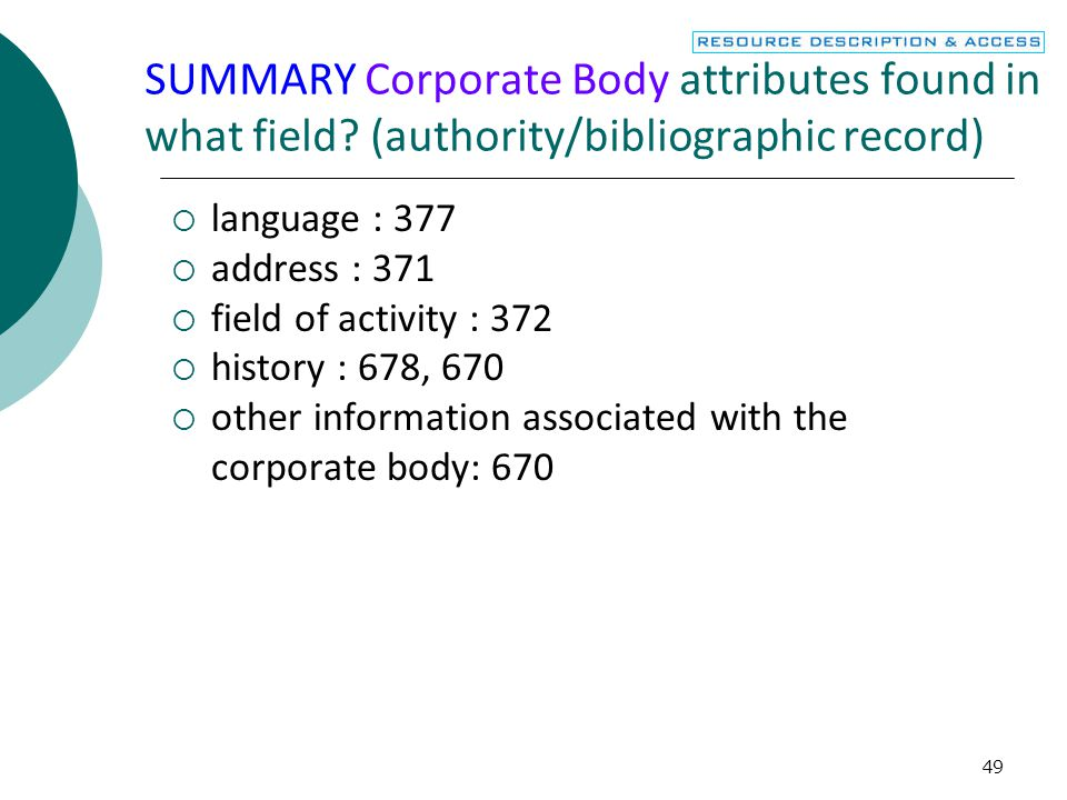 SUMMARY Corporate Body attributes found in what field