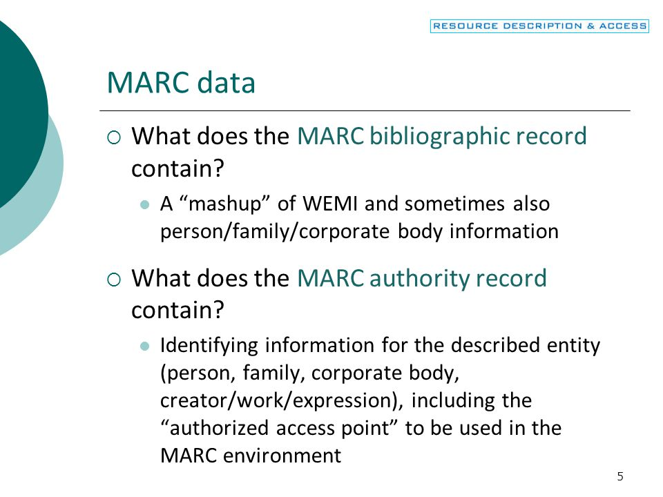 MARC data What does the MARC bibliographic record contain