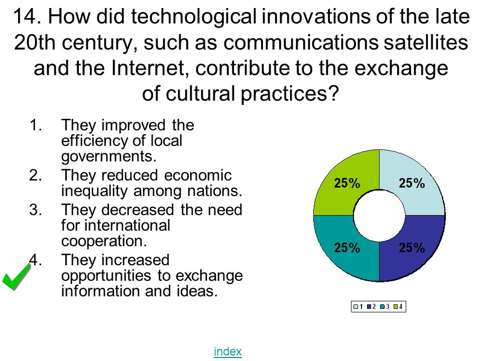 14. How did technological innovations of the late 20th century, such as communications satellites and the Internet, contribute to the exchange of cultural practices