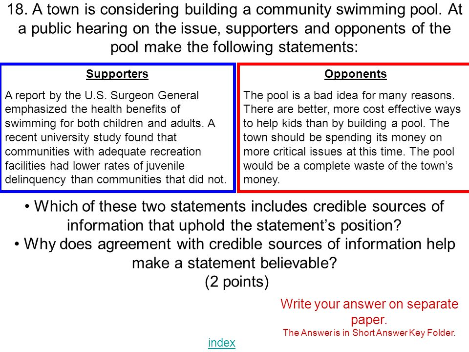 18. A town is considering building a community swimming pool