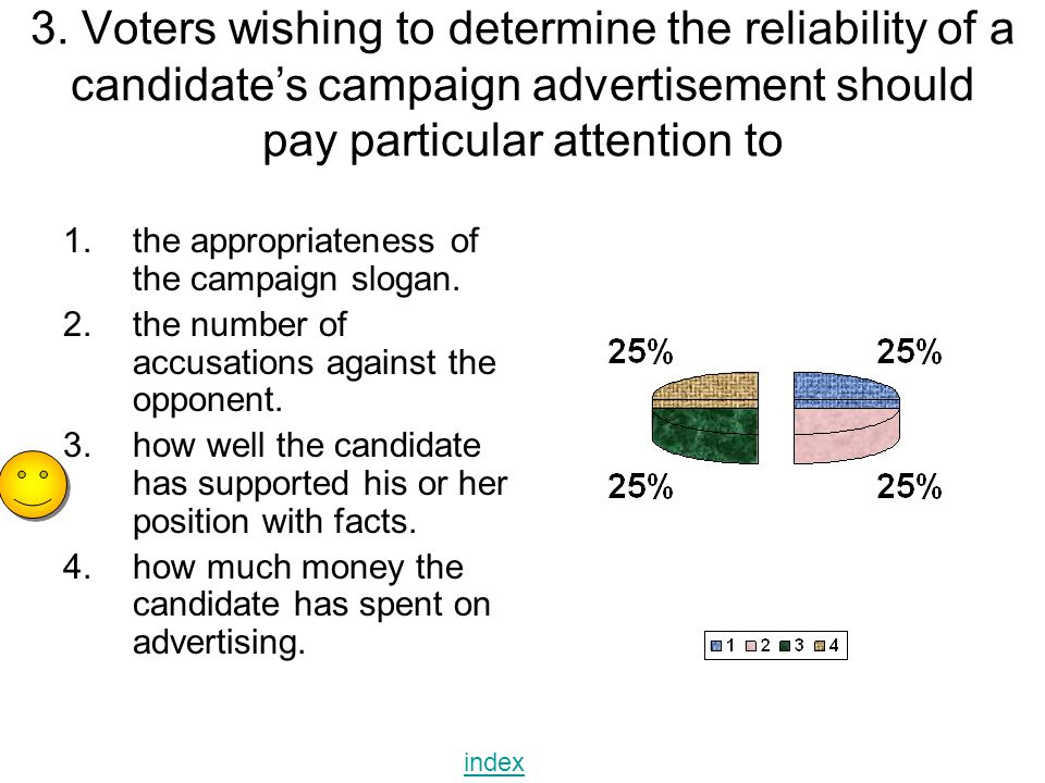 3. Voters wishing to determine the reliability of a candidate's campaign advertisement should pay particular attention to