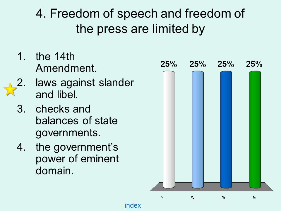 4. Freedom of speech and freedom of the press are limited by