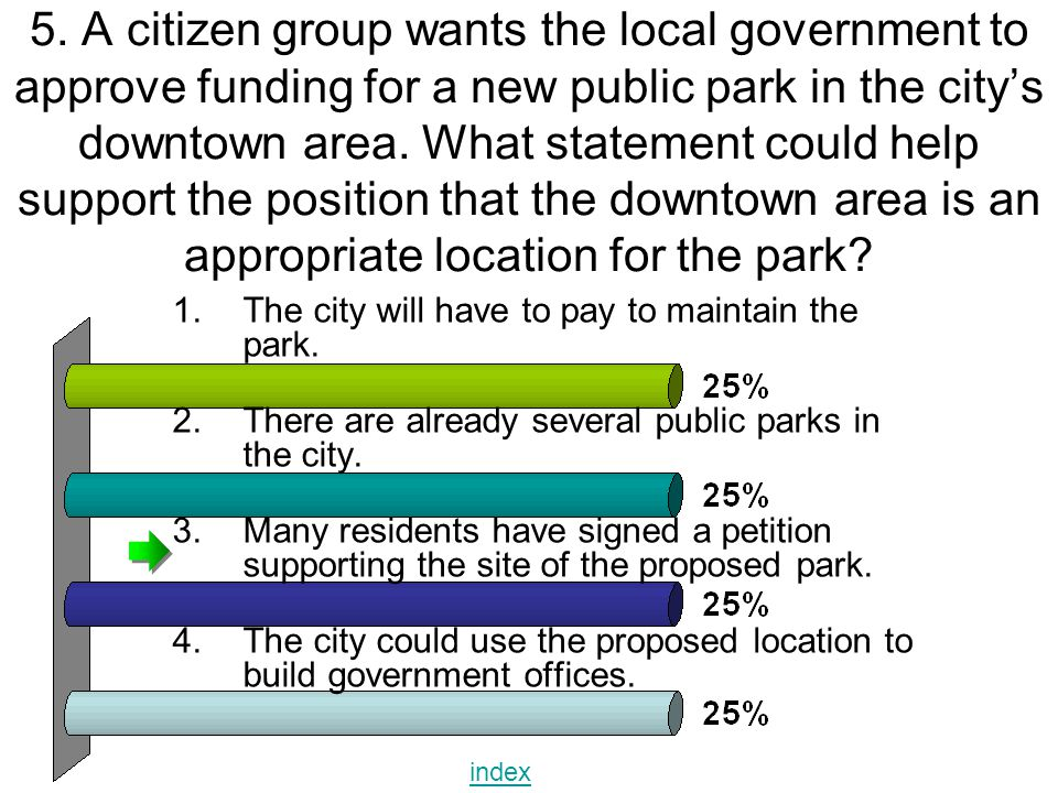 5. A citizen group wants the local government to approve funding for a new public park in the city's downtown area. What statement could help support the position that the downtown area is an appropriate location for the park