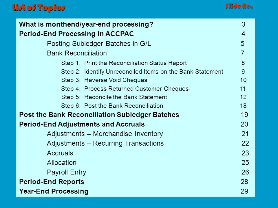 List of Topics Slide No. What is monthend/year-end processing 3