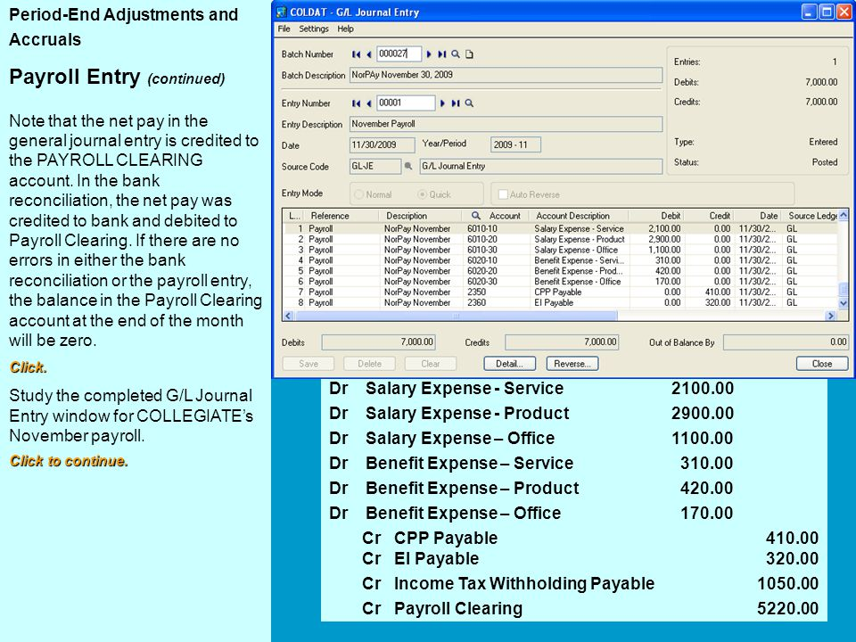 Payroll Journal Entry Payroll Entry (continued)