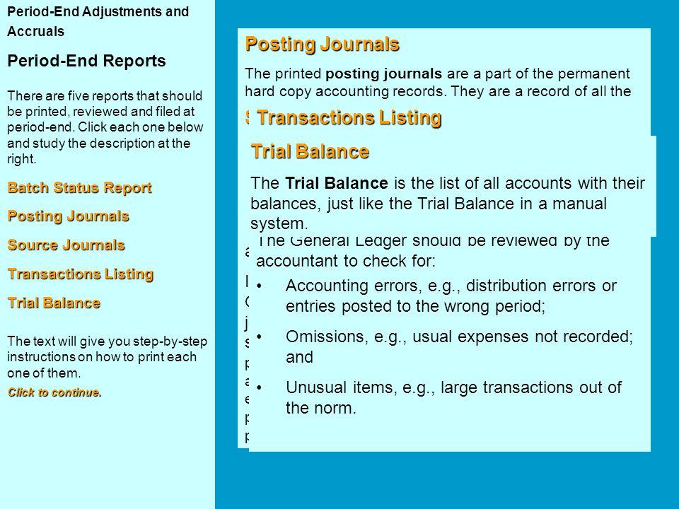 Posting Journals Batch Status Report Source Journals