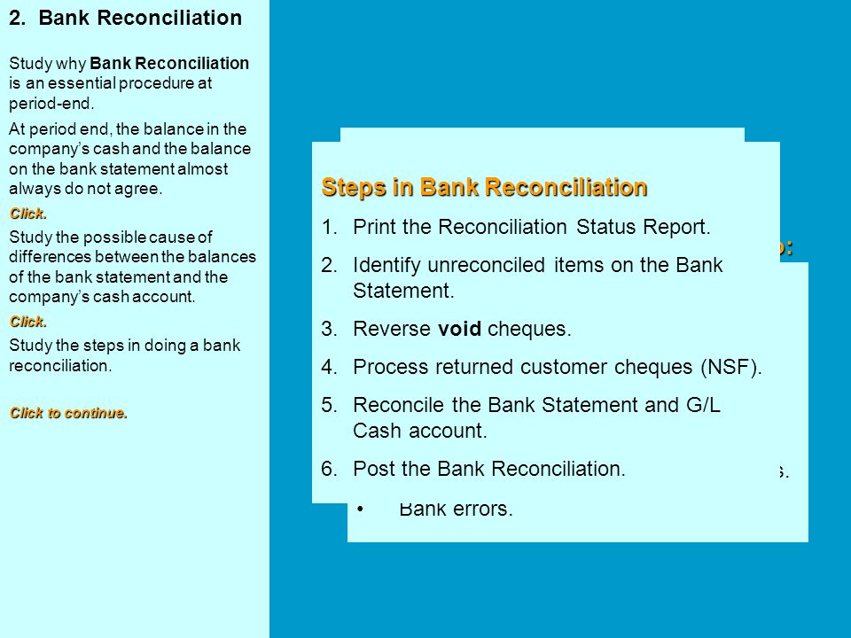 Steps in Bank Reconciliation