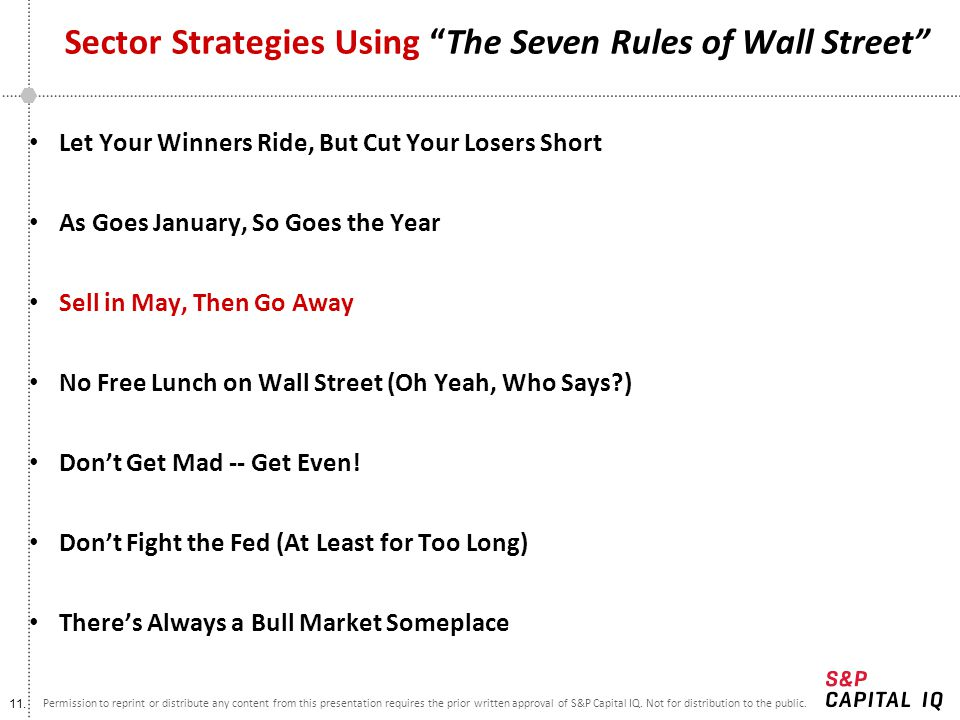 Sector Strategies Using The Seven Rules of Wall Street