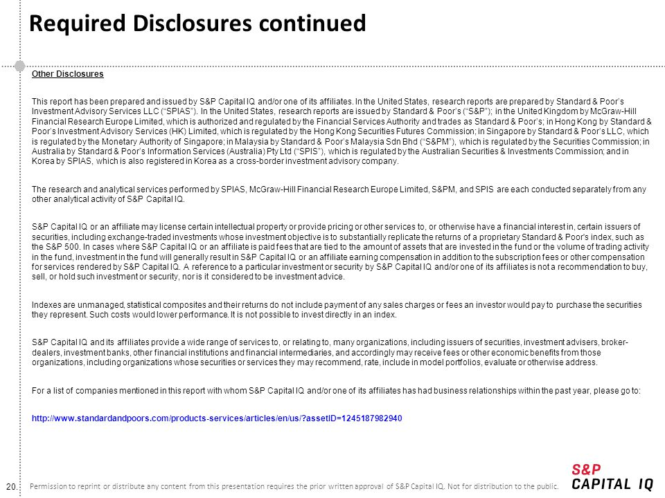 Required Disclosures continued