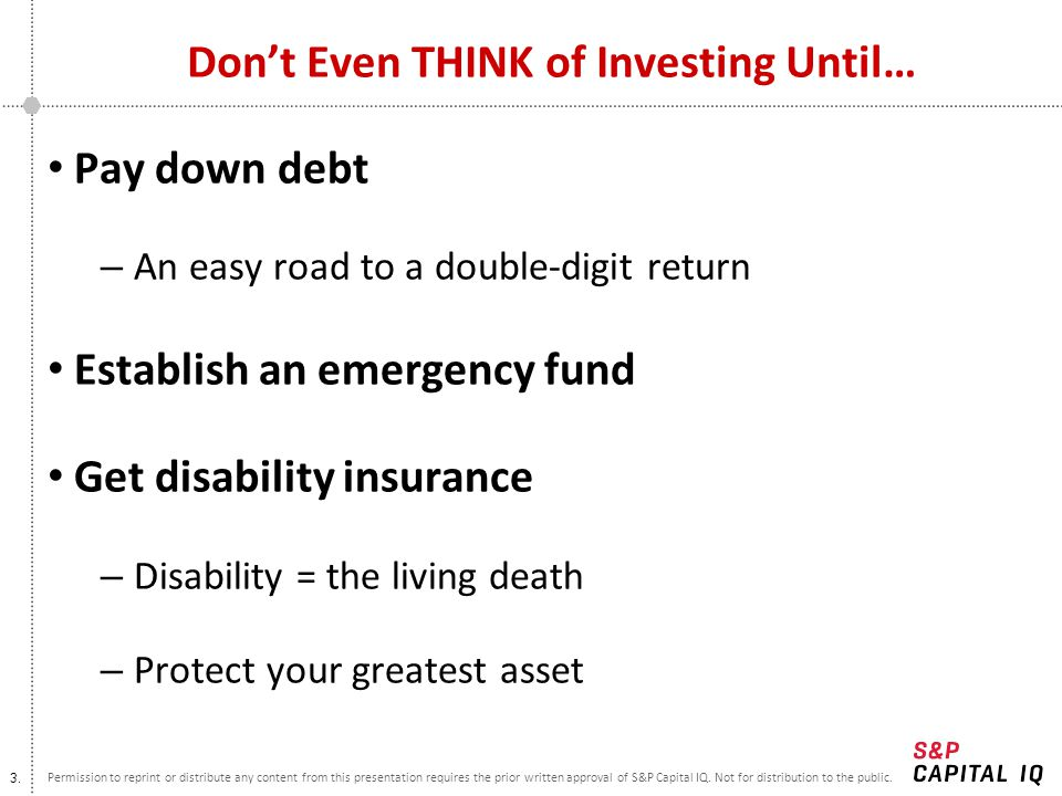 Don't Even THINK of Investing Until…
