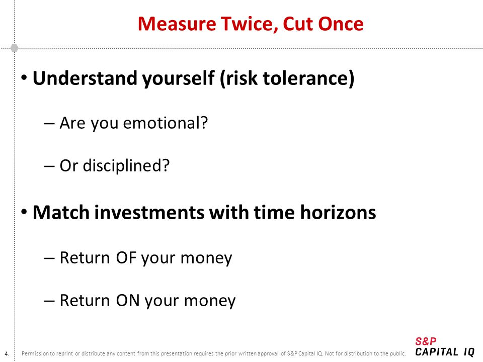 Understand yourself (risk tolerance)
