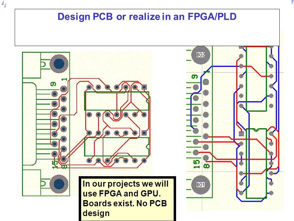 Design PCB or realize in an FPGA/PLD