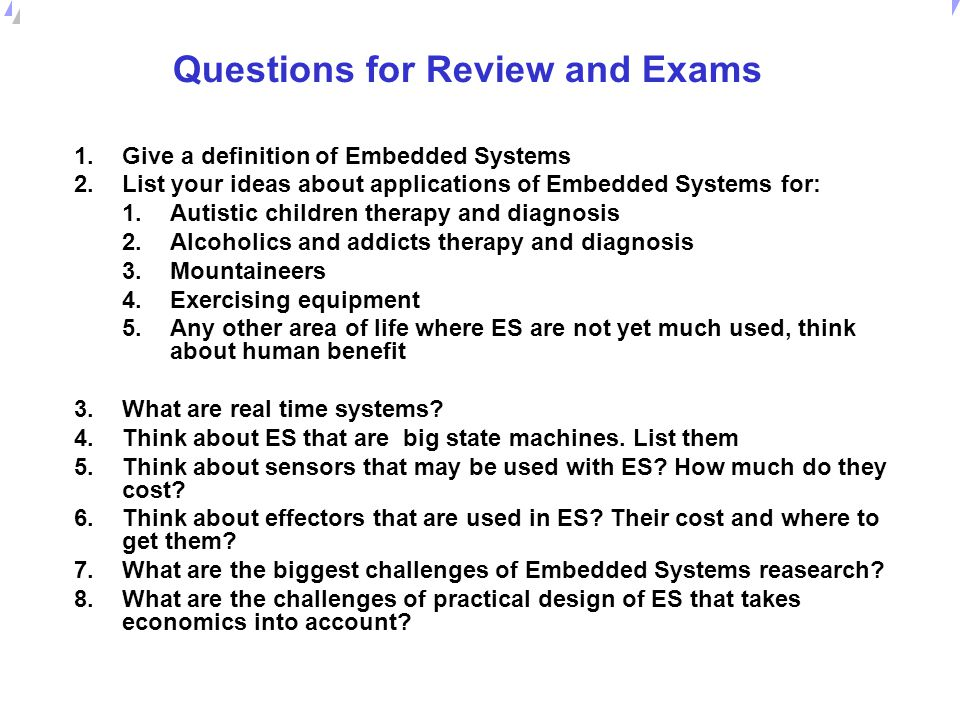 Questions for Review and Exams
