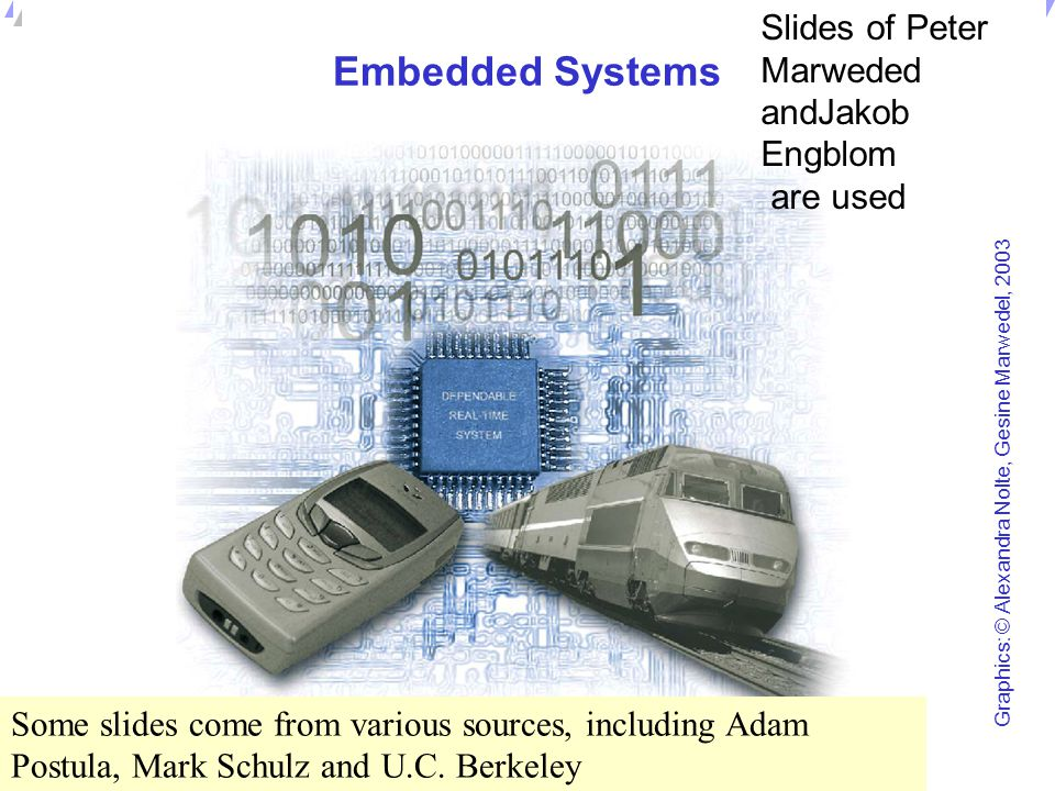 Embedded Systems Slides of Peter Marweded andJakob Engblom are used