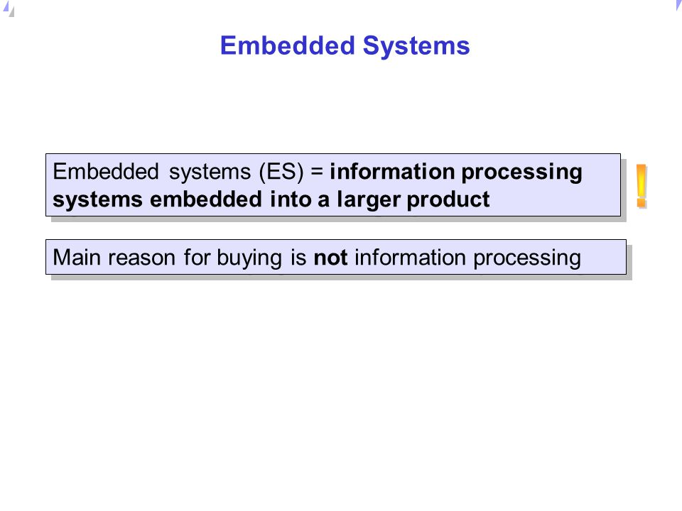 Embedded Systems Embedded systems (ES) = information processing systems embedded into a larger product.