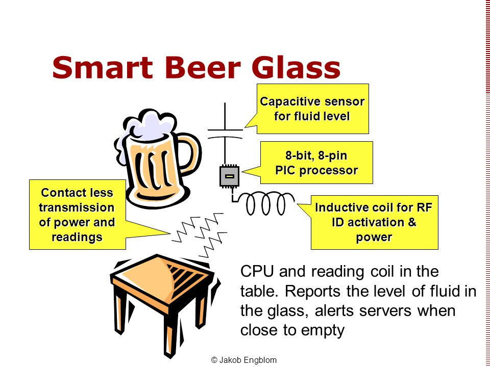 Smart Beer Glass Capacitive sensor for fluid level. 8-bit, 8-pin PIC processor. Contact less transmission of power and readings.