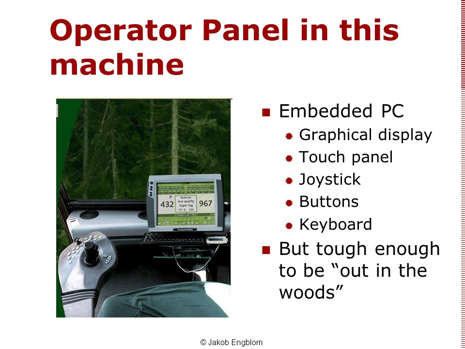 Operator Panel in this machine