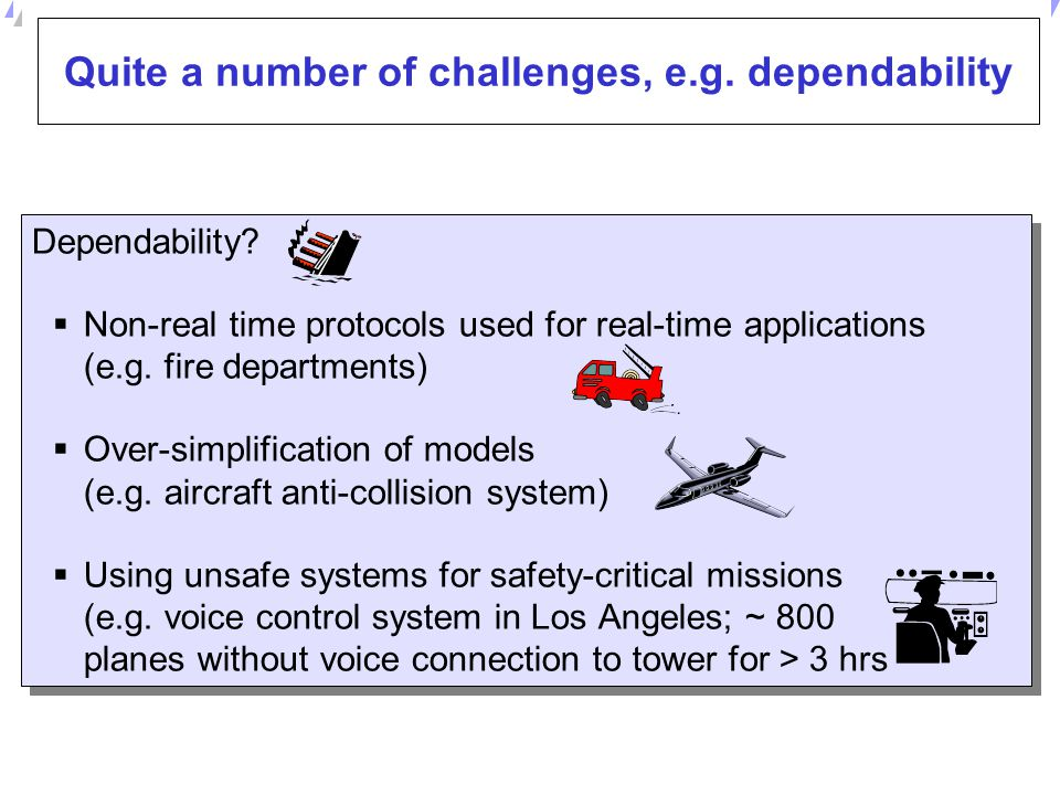 Quite a number of challenges, e.g. dependability