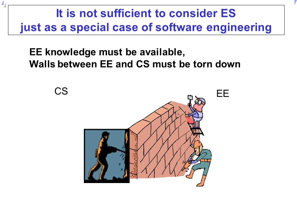 It is not sufficient to consider ES just as a special case of software engineering