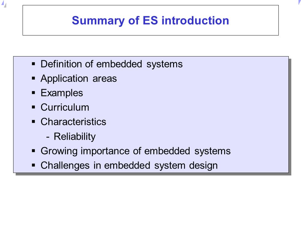 Summary of ES introduction