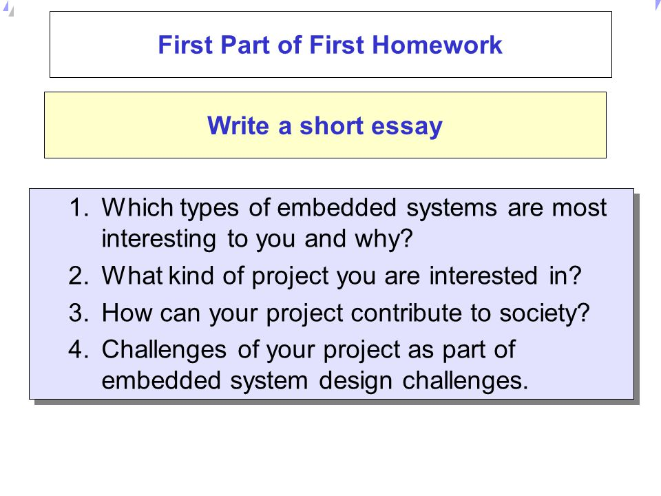 First Part of First Homework