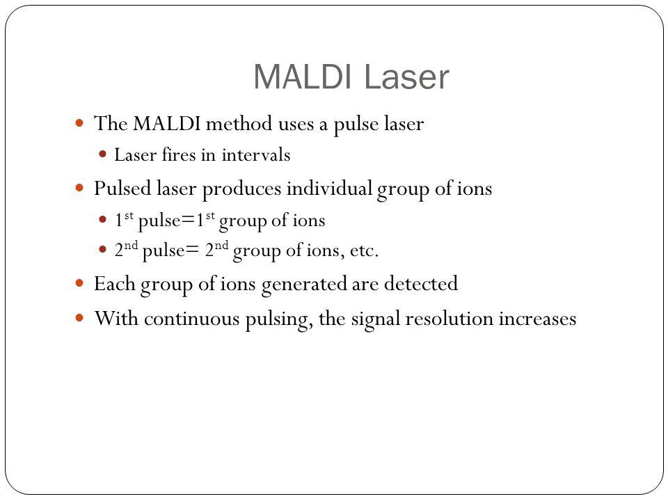 MALDI Laser The MALDI method uses a pulse laser