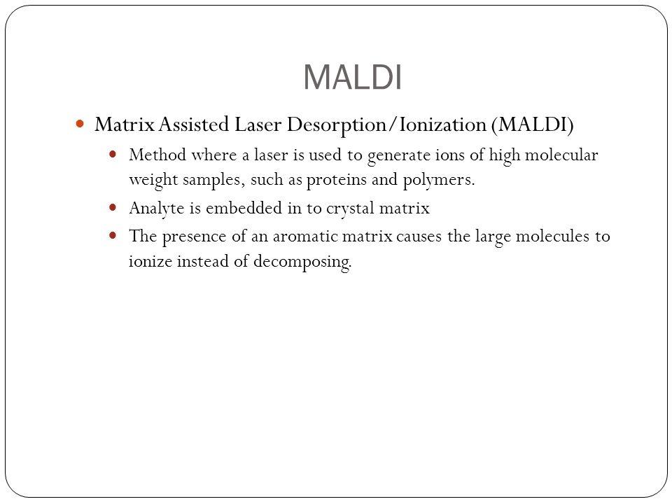 MALDI Matrix Assisted Laser Desorption/Ionization (MALDI)