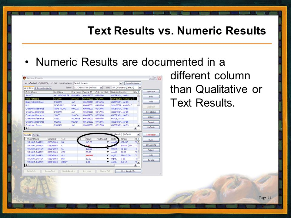 Text Results vs. Numeric Results