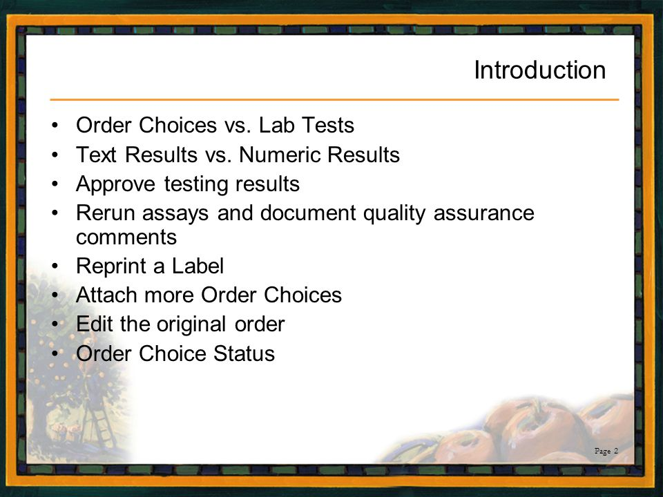 Introduction Order Choices vs. Lab Tests