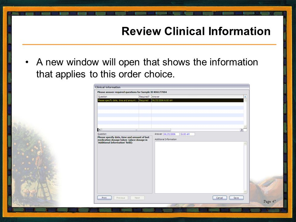 Review Clinical Information