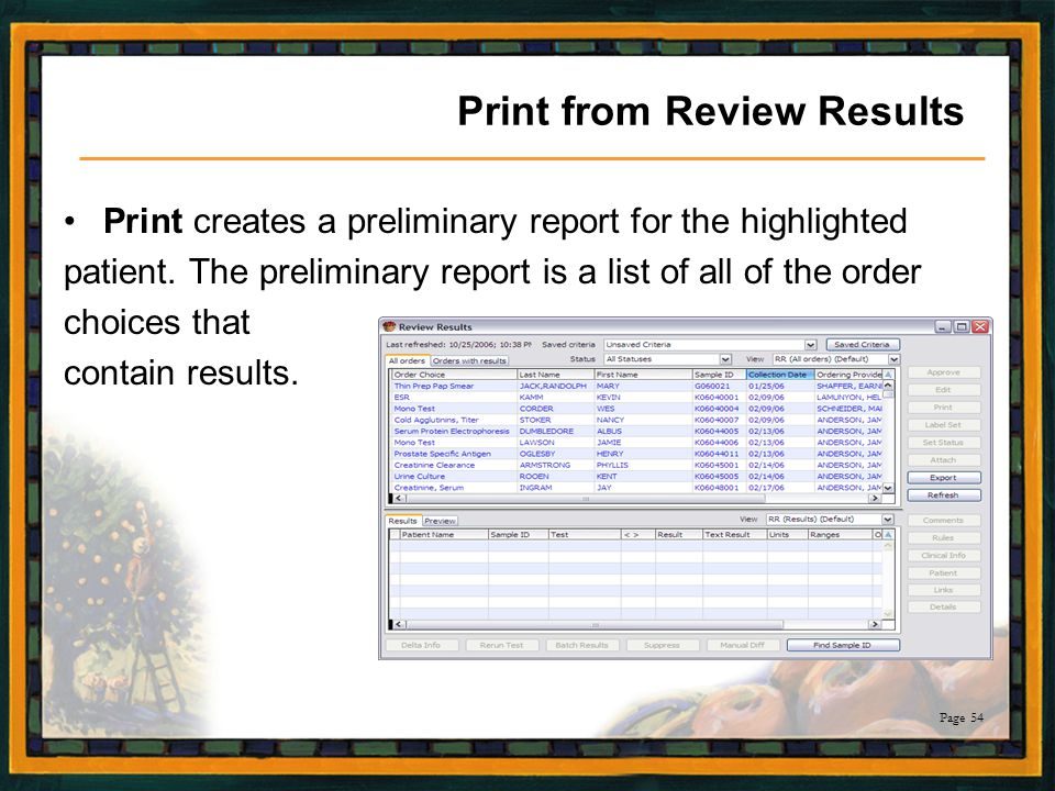 Print from Review Results