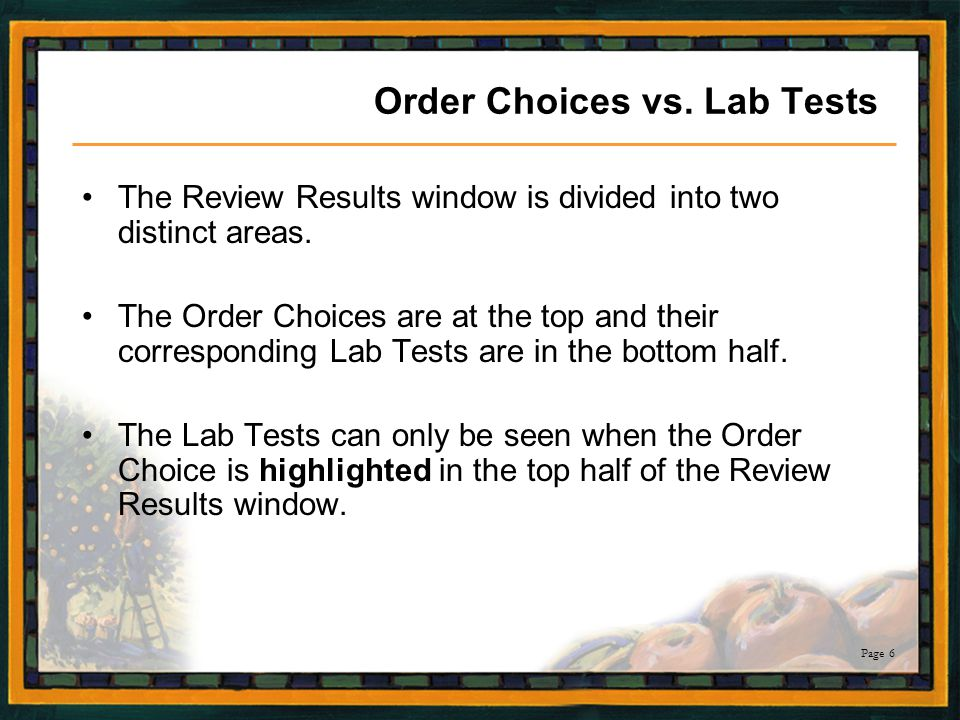 Order Choices vs. Lab Tests