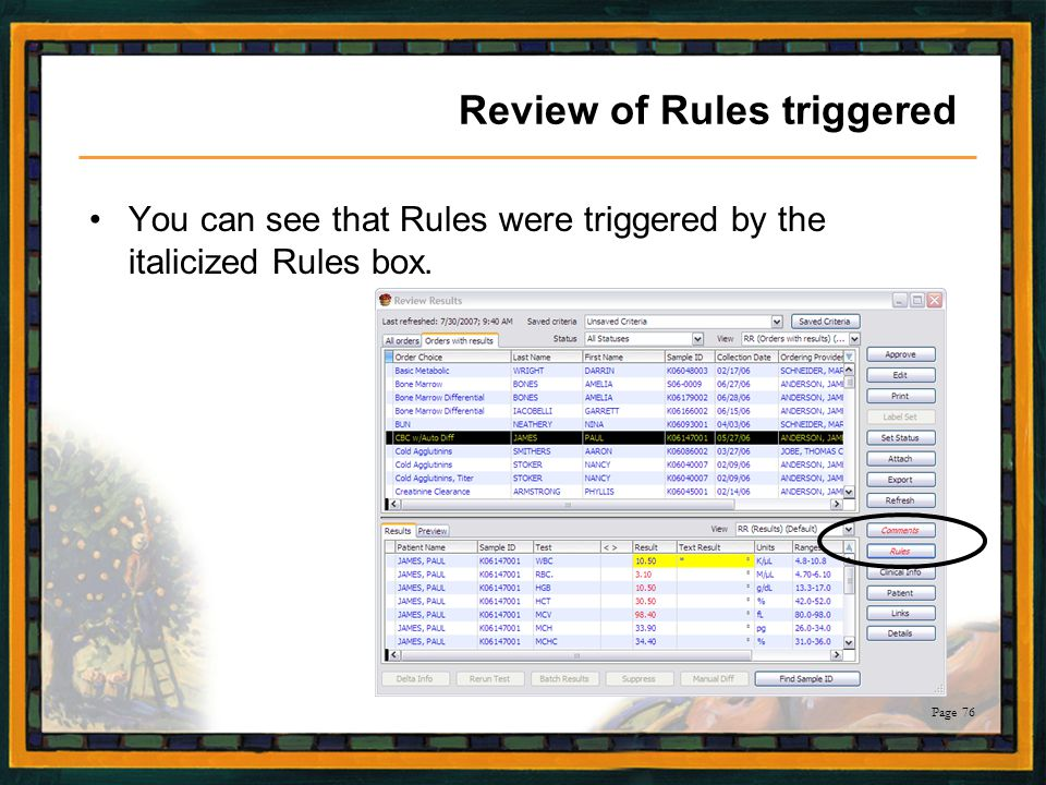 Review of Rules triggered