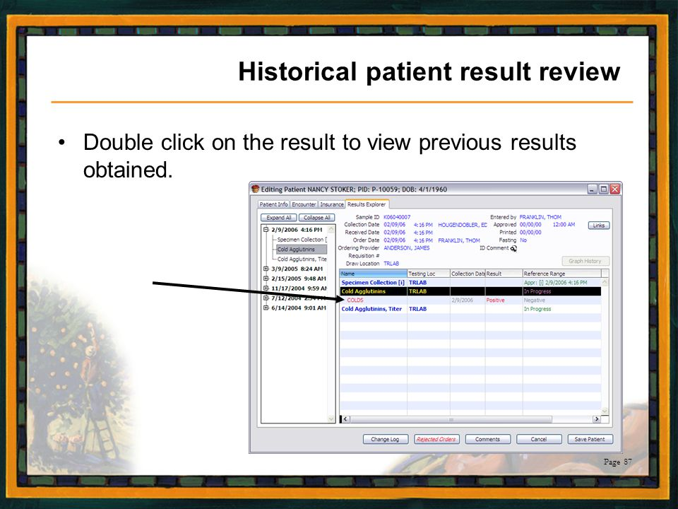 Historical patient result review