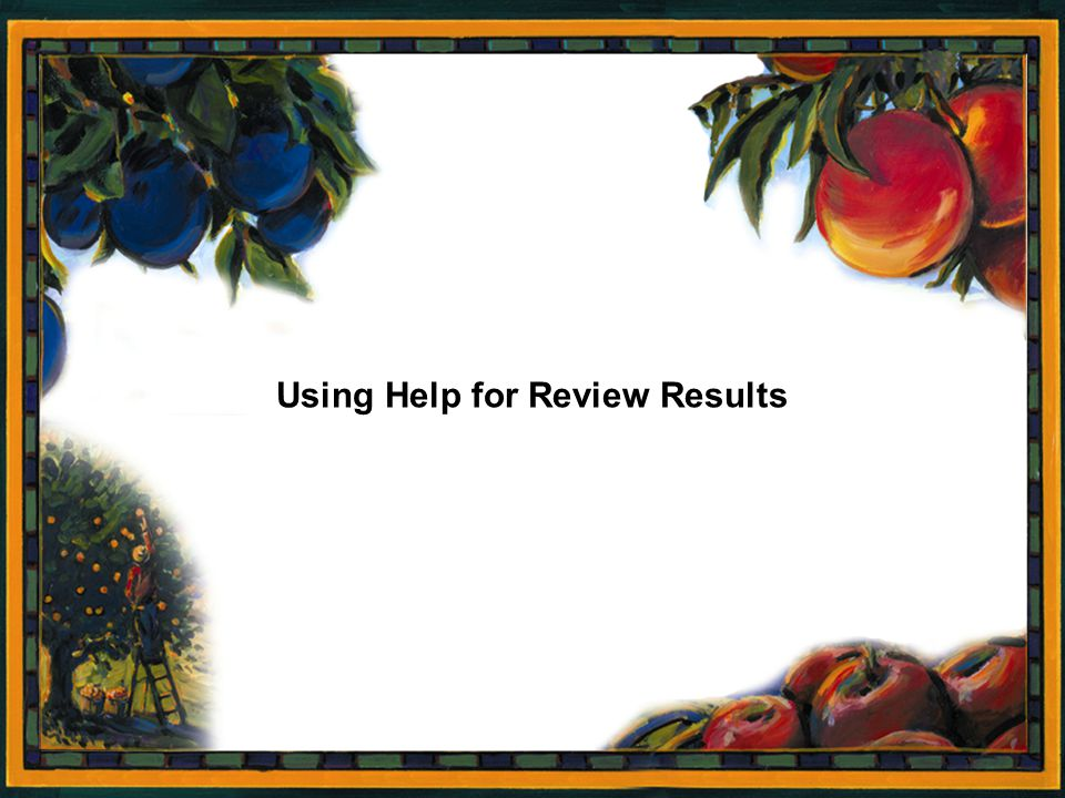 Using Help for Review Results