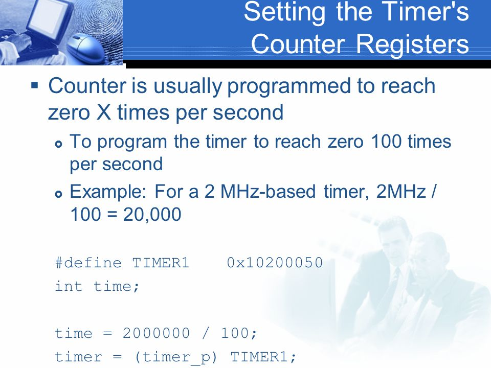 Setting the Timer s Counter Registers