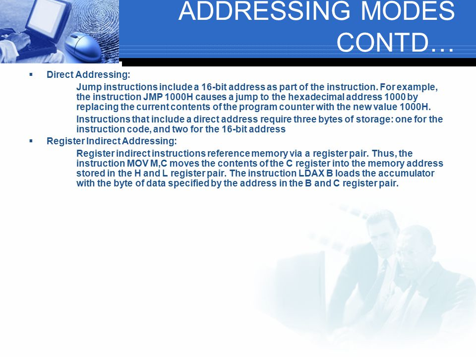 ADDRESSING MODES CONTD…