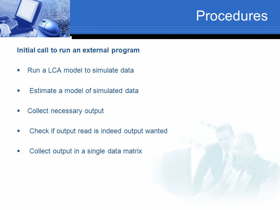 Procedures Initial call to run an external program
