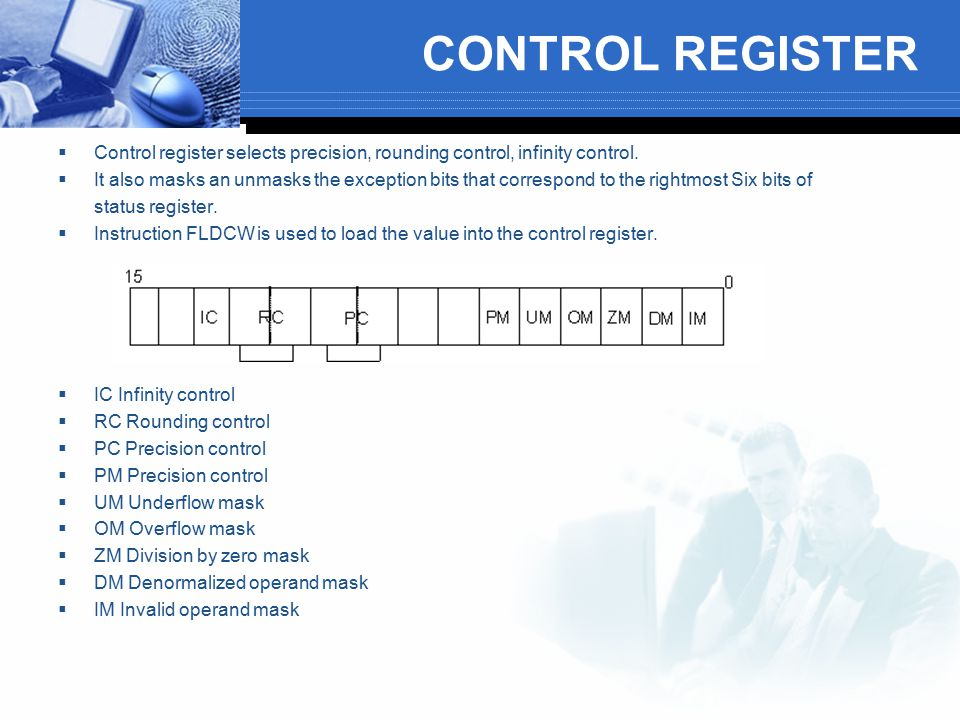 CONTROL REGISTER Control register selects precision, rounding control, infinity control.