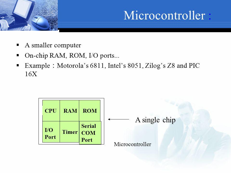 Microcontroller : A single chip A smaller computer