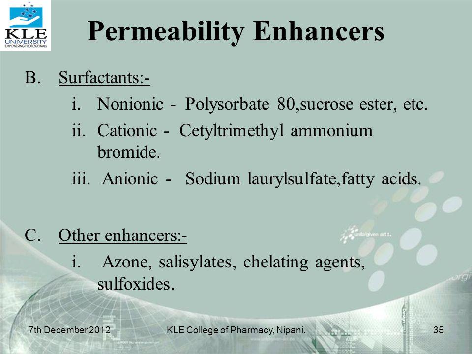 Permeability Enhancers