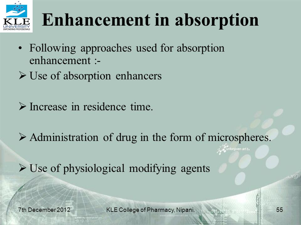 Enhancement in absorption