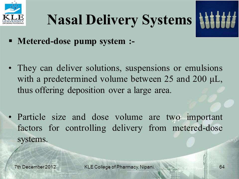 Nasal Delivery Systems
