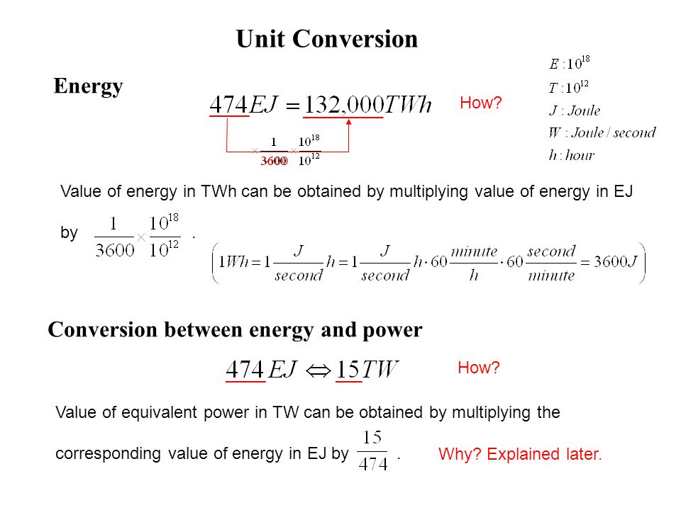 Conversion between energy and power