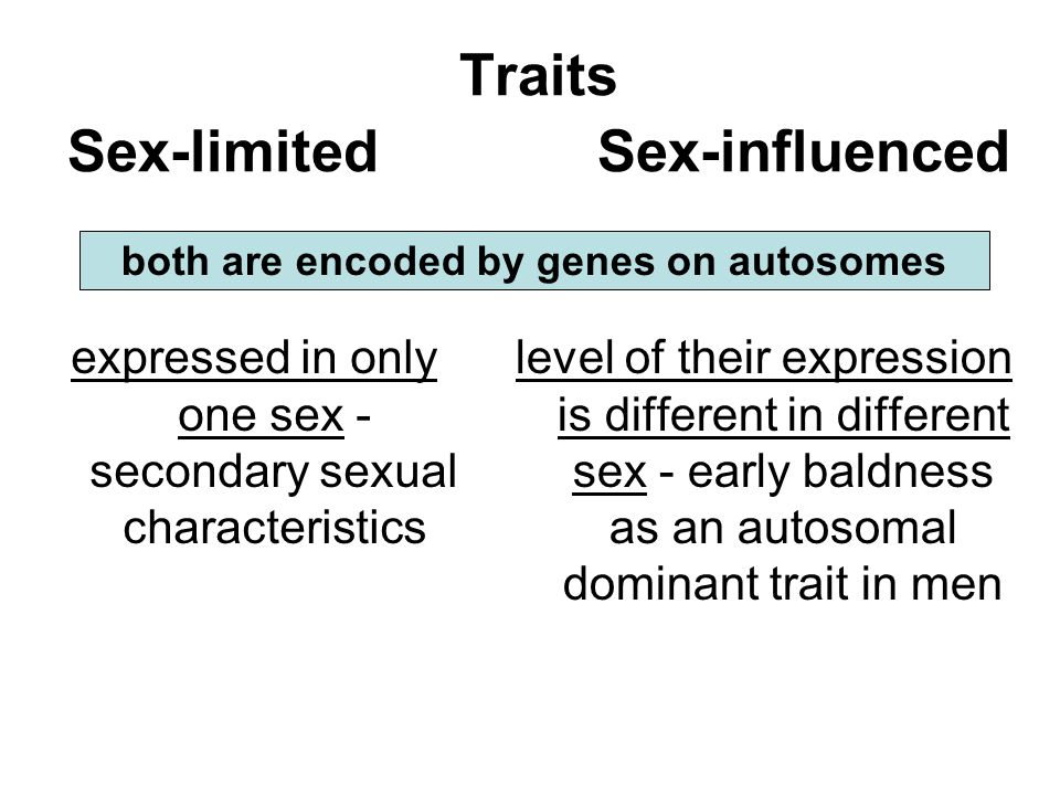 Traits Sex-limited Sex-influenced